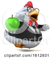 Poster, Art Print Of 3d White Business Chicken Holding An Apple On A White Background