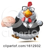 3d White Business Chicken Holding A Brain On A White Background