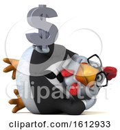Poster, Art Print Of 3d White Business Chicken Holding A Dollar Sign On A White Background