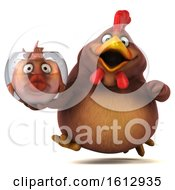 3d Brown Chicken Holding A Fish Bowl On A White Background