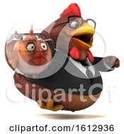 Poster, Art Print Of 3d Brown Business Chicken Holding A Fish Bowl On A White Background