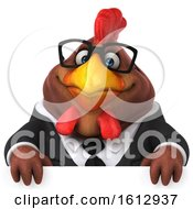 Clipart Of A 3d Brown Business Chicken Over A Sign On A White Background Royalty Free Illustration