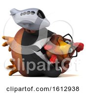 Clipart Of A 3d Brown Business Chicken Holding A Plane On A White Background Royalty Free Illustration