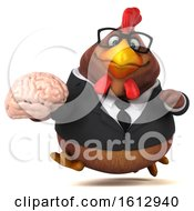 Clipart Of A 3d Brown Business Chicken Holding A Brain On A White Background Royalty Free Illustration