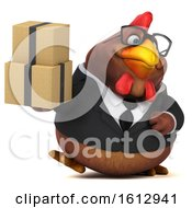Poster, Art Print Of 3d Brown Business Chicken Holding Boxes On A White Background