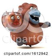 3d Orangutan Monkey Holding A Fish Bowl On A White Background