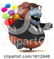 Clipart Of A 3d Business Orangutan Monkey Holding Messages On A White Background Royalty Free Illustration by Julos