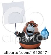 Clipart Of A 3d Business Orangutan Monkey Holding A Water Drop On A White Background Royalty Free Illustration by Julos