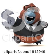 Clipart Of A 3d Business Orangutan Monkey Holding A Dollar Sign On A White Background Royalty Free Illustration by Julos
