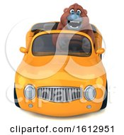 Clipart Of A 3d Orangutan Monkey Driving A Convertible On A White Background Royalty Free Illustration by Julos