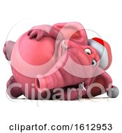 3d Pink Christmas Elephant Resting On A White Background