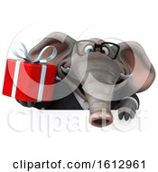 3d Business Elephant Holding A Gift On A White Background