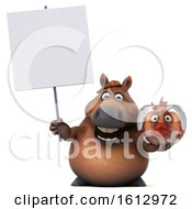 3d Chubby Brown Horse Holding A Fish Bowl On A White Background