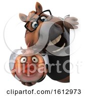Clipart Of A 3d Chubby Brown Business Horse Holding A Fish Bowl On A White Background Royalty Free Illustration