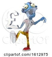 Clipart Of A 3d Blue Zombie Holding A Pound Currency Symbol On A White Background Royalty Free Illustration