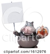 3d Hippo Holding A Fish Bowl On A White Background