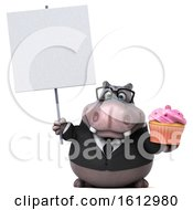 Clipart Of A 3d Business Hippo Holding A Cupcake On A White Background Royalty Free Illustration