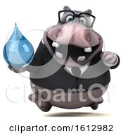 Clipart Of A 3d Business Hippo Holding A Water Drop On A White Background Royalty Free Illustration