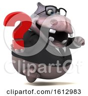 Clipart Of A 3d Business Hippo Holding A Question Mark On A White Background Royalty Free Illustration
