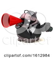 Clipart Of A 3d Business Hippo Holding A Camera On A White Background Royalty Free Illustration