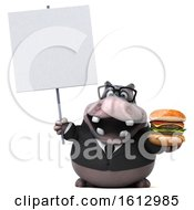 Clipart Of A 3d Business Hippo Holding A Burger On A White Background Royalty Free Illustration