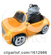 Clipart Of A 3d Business Gorilla Driving A Convertible On A White Background Royalty Free Illustration
