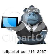 Clipart Of A 3d Business Gorilla Holding A Tablet On A White Background Royalty Free Illustration