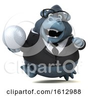 3d Business Gorilla Holding A Golf Ball On A White Background