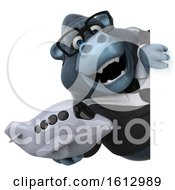 Clipart Of A 3d Business Gorilla Holding A Plane On A White Background Royalty Free Illustration