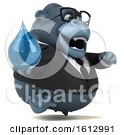 Clipart Of A 3d Business Gorilla Holding A Water Drop On A White Background Royalty Free Illustration by Julos