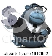 Clipart Of A 3d Business Gorilla Holding A Dollar Sign On A White Background Royalty Free Illustration