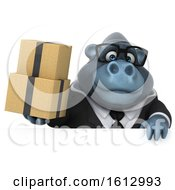 Clipart Of A 3d Business Gorilla Holding Boxes On A White Background Royalty Free Illustration by Julos