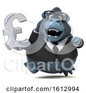 Clipart Of A 3d Business Gorilla Holding A Pound Currency Symbol On A White Background Royalty Free Illustration by Julos