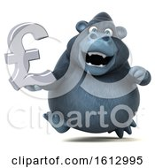 Clipart Of A 3d Business Gorilla Holding A Pound Currency Symbol On A White Background Royalty Free Illustration