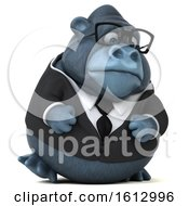 Clipart Of A 3d Business Gorilla Walking On A White Background Royalty Free Illustration