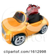 3d Red Business Bull Driving A Convertible On A White Background