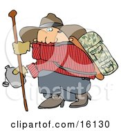 Chubby Cowboy Man Carrying Camping Gear On His Back Holding Onto A Hiking Stick While Crouching To Drink From A Canteen Clipart Illustration