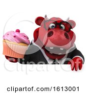3d Red Business Bull Holding A Cupcake On A White Background