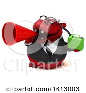 3d Red Business Bull Holding A Gas Can On A White Background