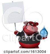 Clipart Of A 3d Red Business Bull Holding A Water Drop On A White Background Royalty Free Illustration by Julos