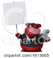 Clipart Of A 3d Red Business Bull Holding A Euro On A White Background Royalty Free Illustration by Julos