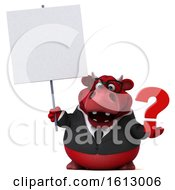 Clipart Of A 3d Red Business Bull Holding A Question Mark On A White Background Royalty Free Illustration by Julos