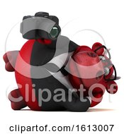 3d Red Business Bull Holding A Camera On A White Background
