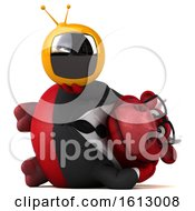 3d Red Business Bull Holding A Tv On A White Background
