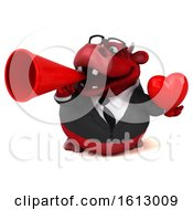 3d Red Business Bull Holding A Heart On A White Background