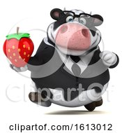 3d Business Holstein Cow Holding A Strawberry On A White Background