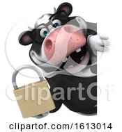 3d Business Holstein Cow Holding A Padlock On A White Background