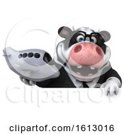 3d Business Holstein Cow Holding A Plane On A White Background