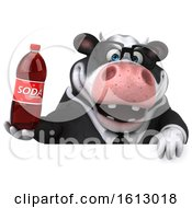 3d Business Holstein Cow Holding A Soda On A White Background