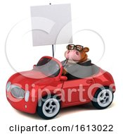 3d Brown Business Cow Driving A Convertible On A White Background